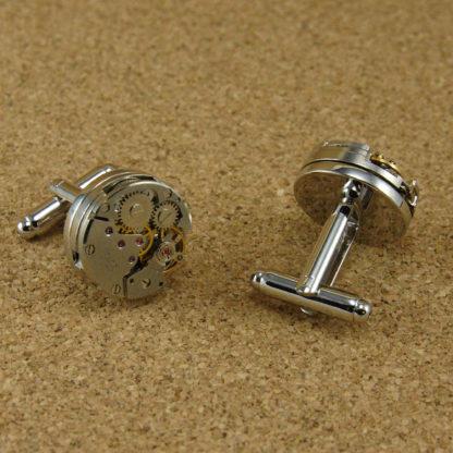 Manschettenknöpfe Uhrwerk Silber