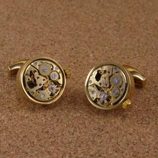 Manschettenknöpfe Uhrwerk Gold ( Aufziehbar )