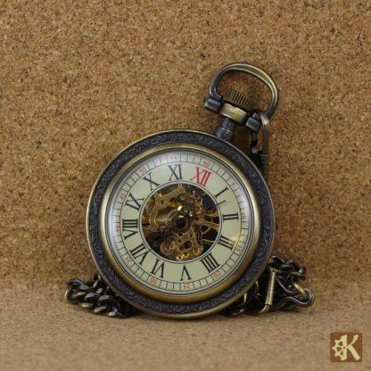 Taschenuhr ohne Klappe altmessingfarben